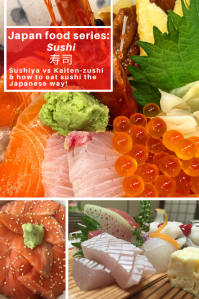White text Japen food series about sushi with close-up of sushi.