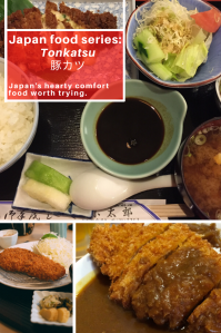 Japan food series: tonkatsu. Fried pork cutlets in curry sauce with green vegetables.