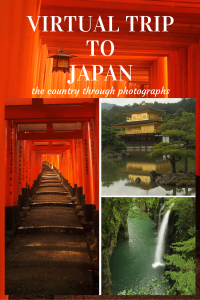 Orange tori gates, the golden pavillion temple with reflections in the water and a waterfall in a green gorge in Japan.