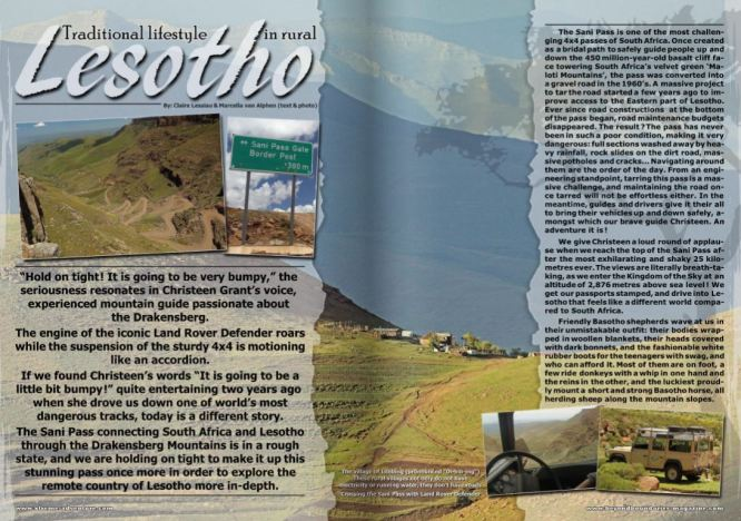 Double page in magazine of the Eastern Lesotho article