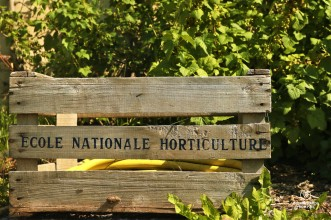 Wooden crate with the name of the Ecole Nationale d'Horticulture at the King's Kitchen Garden in Versailles.