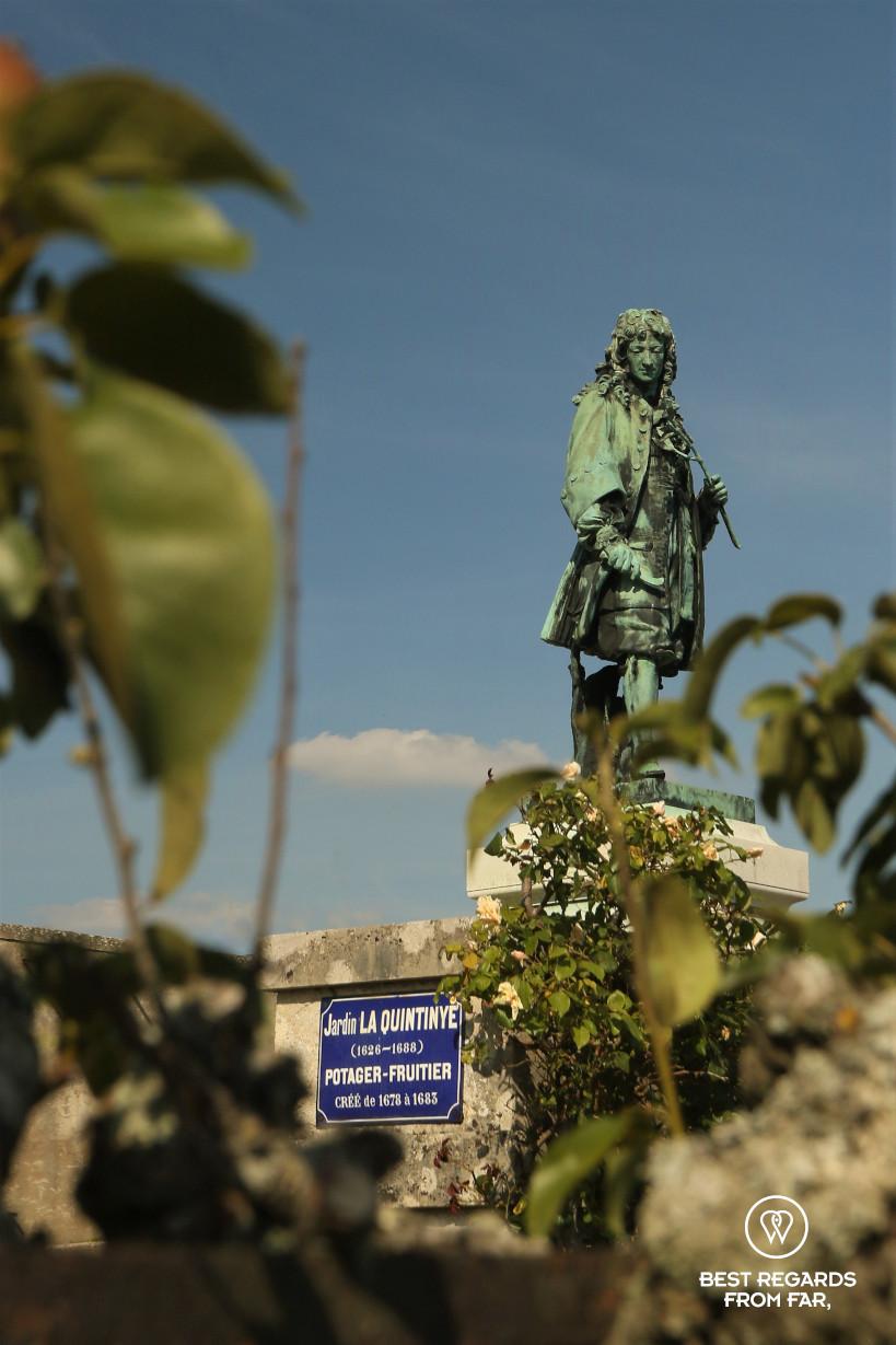 Sculpture of La Quintinie, the creator of the King's Kitchen Garden in Versailles.