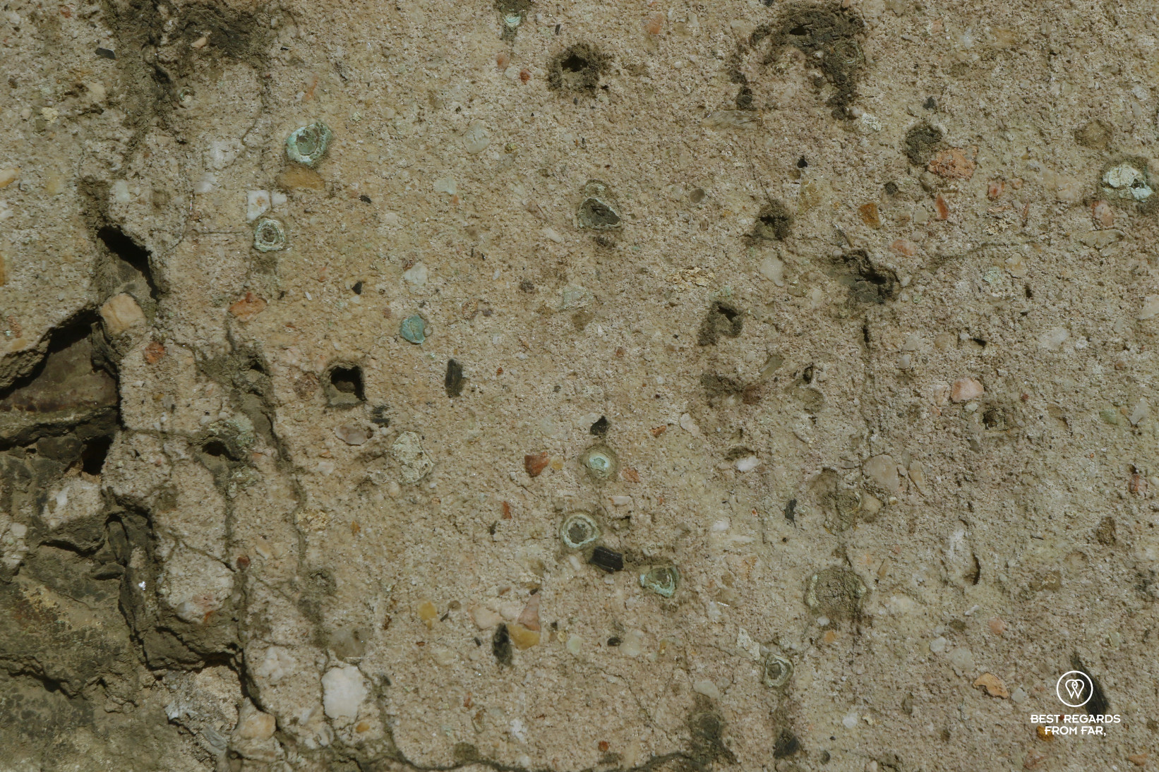 Traces of copper sulfate in the 17th century wall of the King's Kitchen Garden in Versailles.