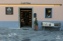 Front of the Cantina wine bar in Manerola, Italy
