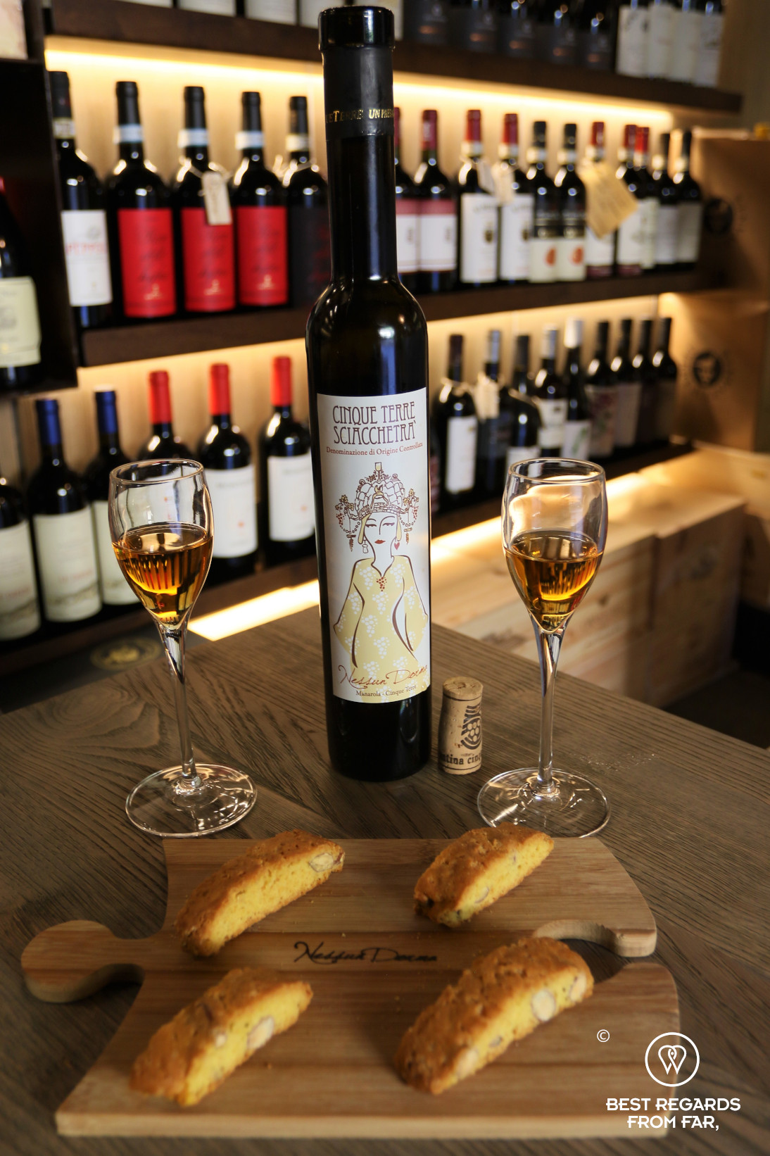 Italian sweet wine presented in the Cantina wine bar in Manerola, Cinque Terre