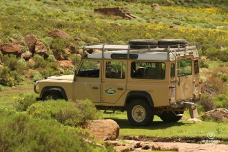 Old style Land Rover 4x4 in Eastern Lesotho