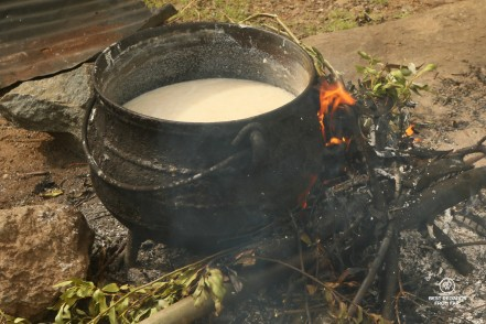 Traditional beer in Eastern Lesotho being brewed on an open fire