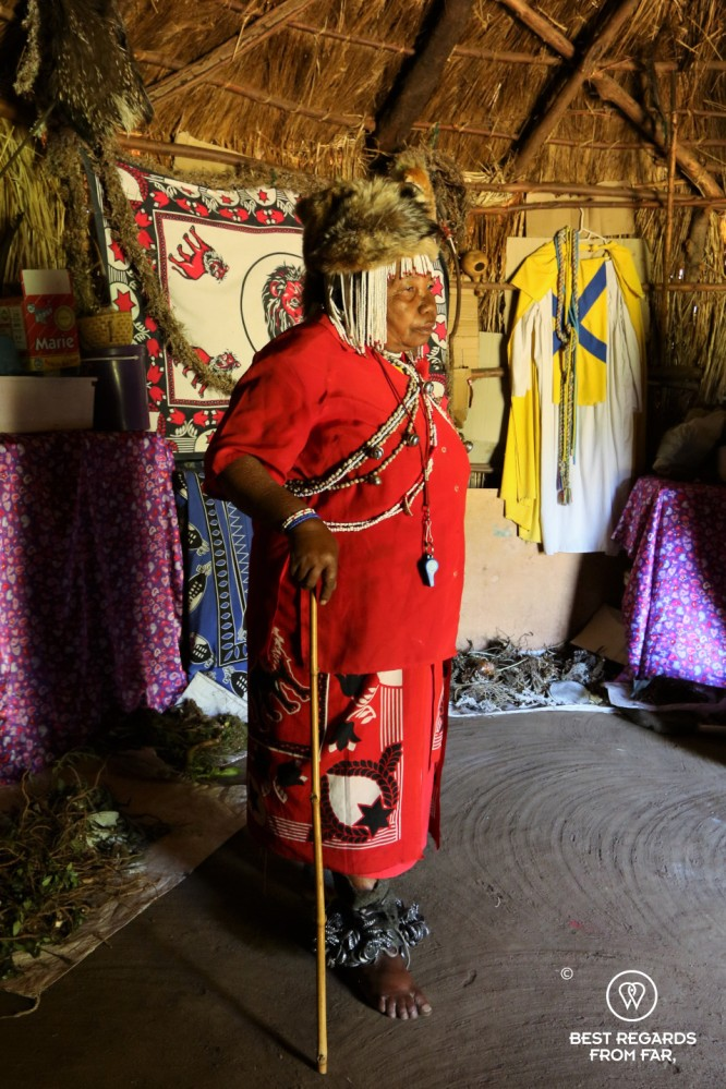 Traditional healer in her rondavel in Eastern Lesotho