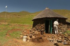 Eastern Lesotho village traditional rondavel