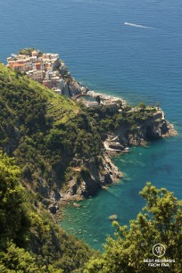 Blue sea with a small village built on a cliff surrounded by vineyards