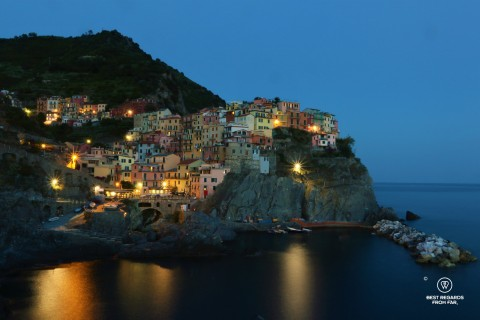 Colourful coastal village at dusk in Cinque Terre, Italy