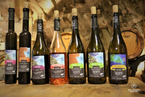 Seven bottles of the Cinque Terre wines crafted at Possa's vineyards taken in a wine cellar.