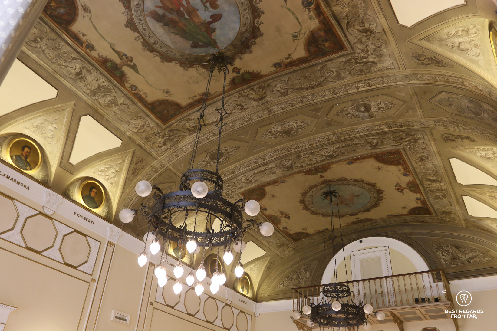 Breakfast room of the Bernini Palace hotel in Florence, Italy, with its painted ceilings.
