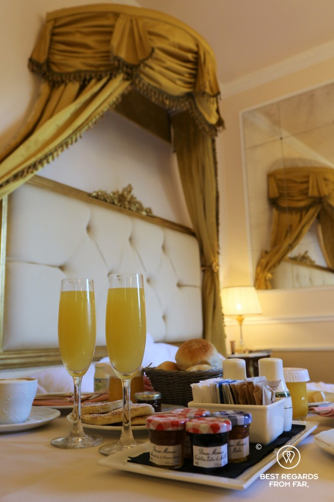 Room service breakfast at the Hotel Bernini Palace, Florence, Italy