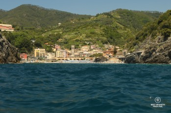 Village seen from the sea with green vineyards and blue skies