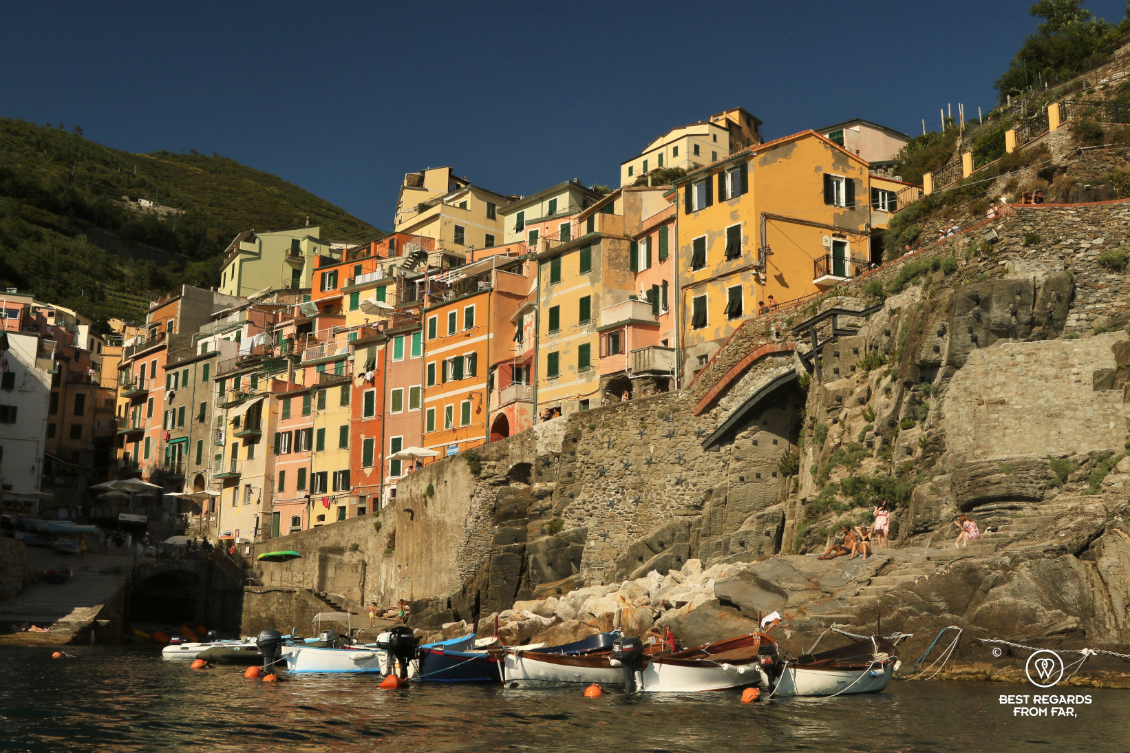 Sunset light on the houses of Riomaggiore