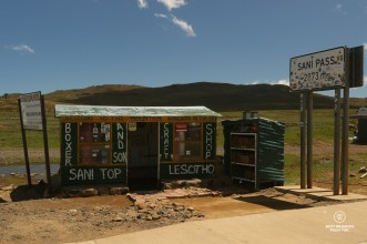 Sani Pass sign at border crossing