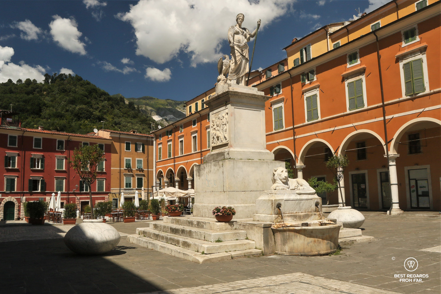 White marble statue on the main square of Carrara