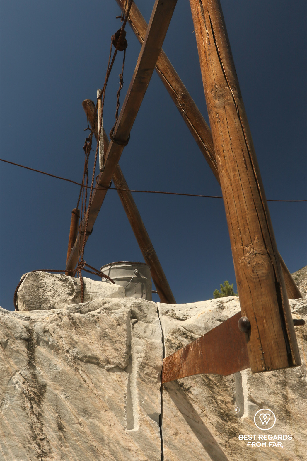 Old saw of the Carrara marble quarries, Italy