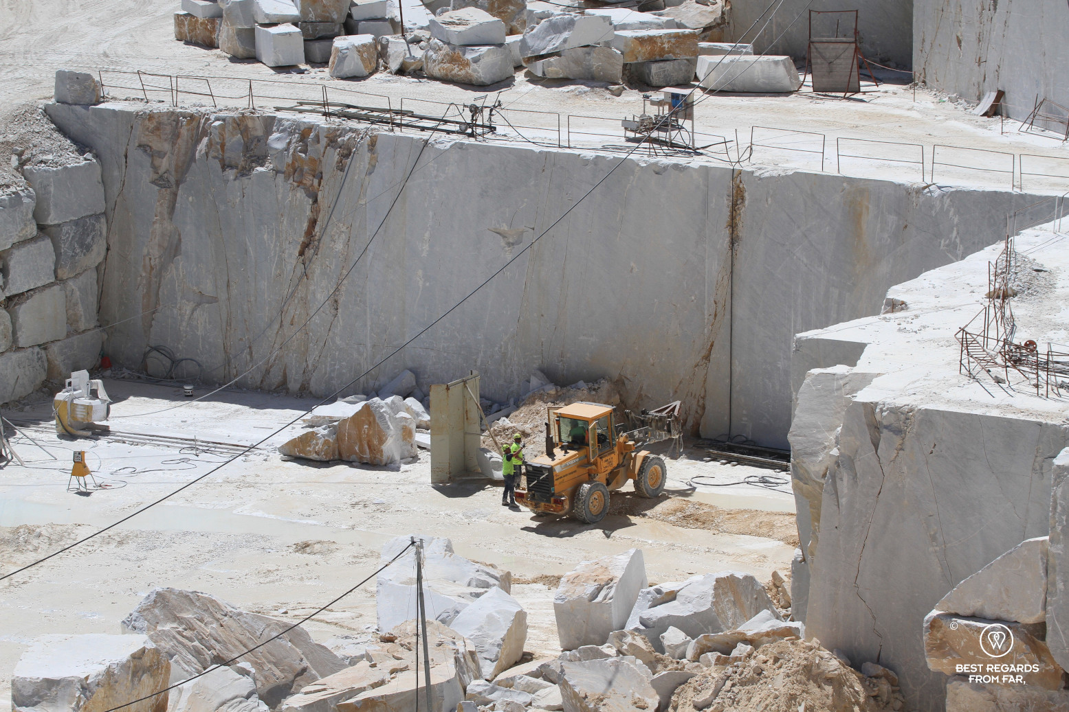 White Carrara marble quarry, work in progress, Italy