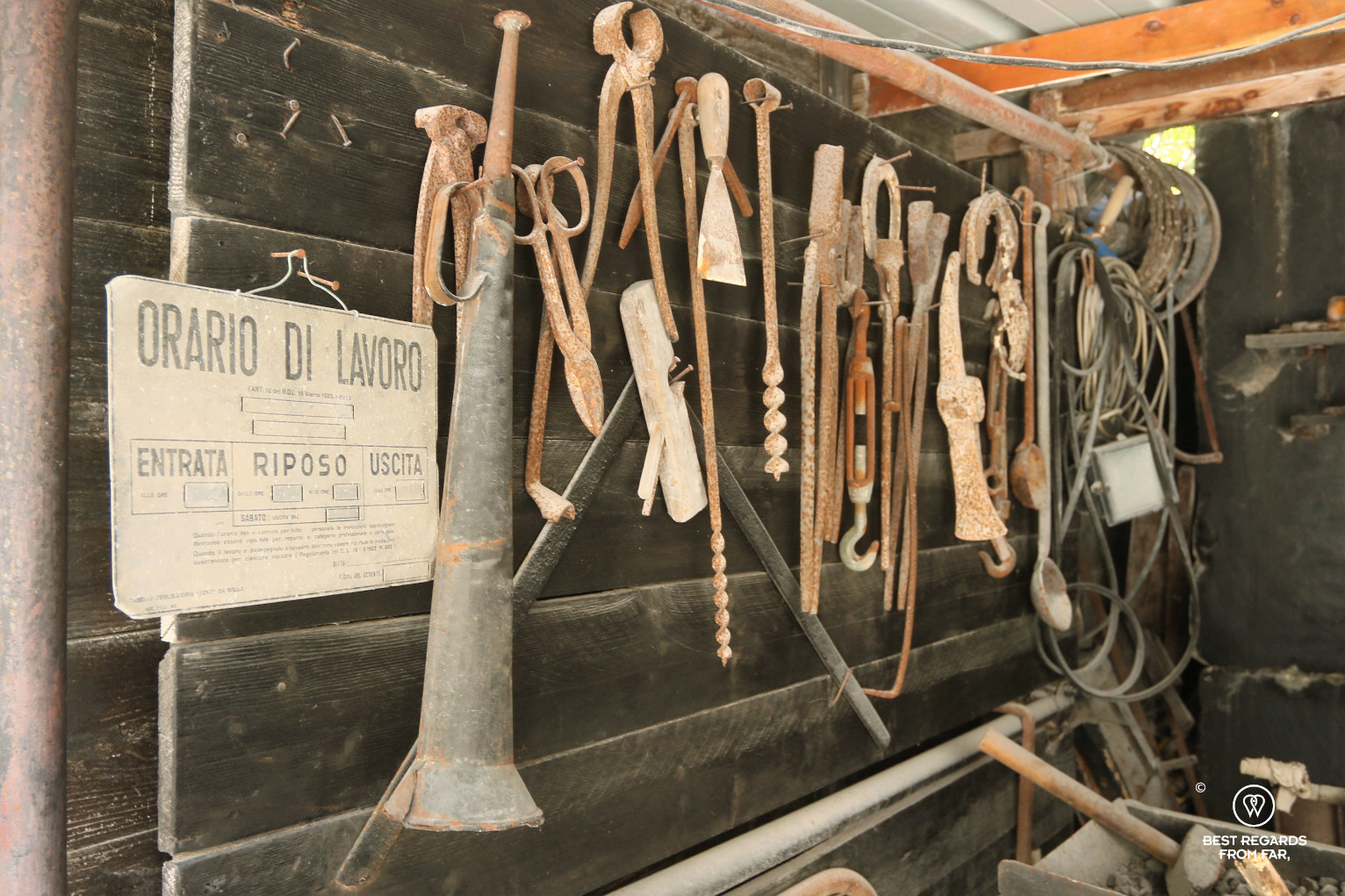 Old working tools of the Carrara marble quarries, Italy
