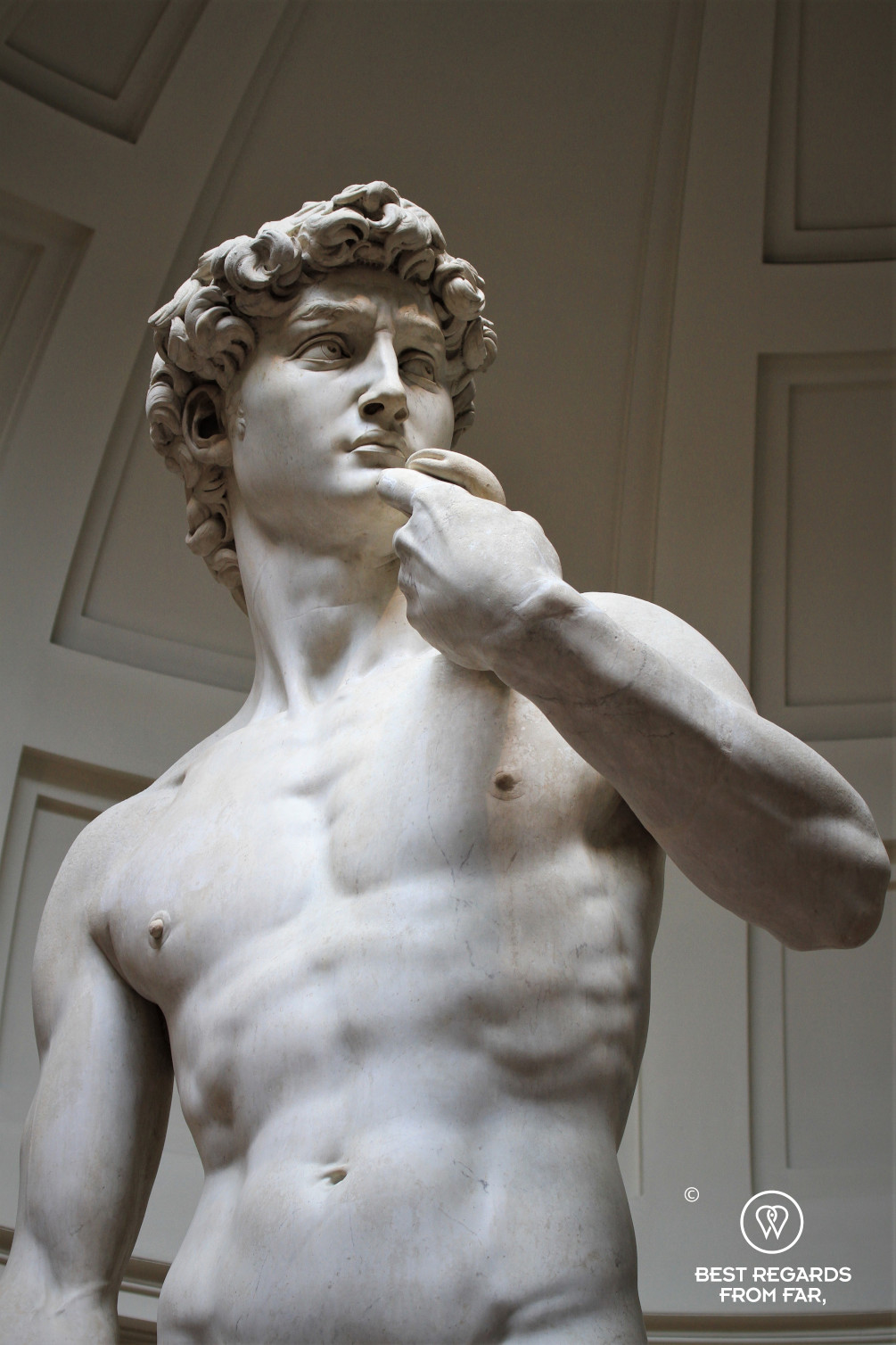Close up of David, white marble statue of a male by Michelangelo
