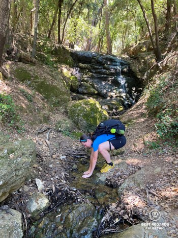 Hiking to San Fruttuoso and refreshing by a stream in the forest.