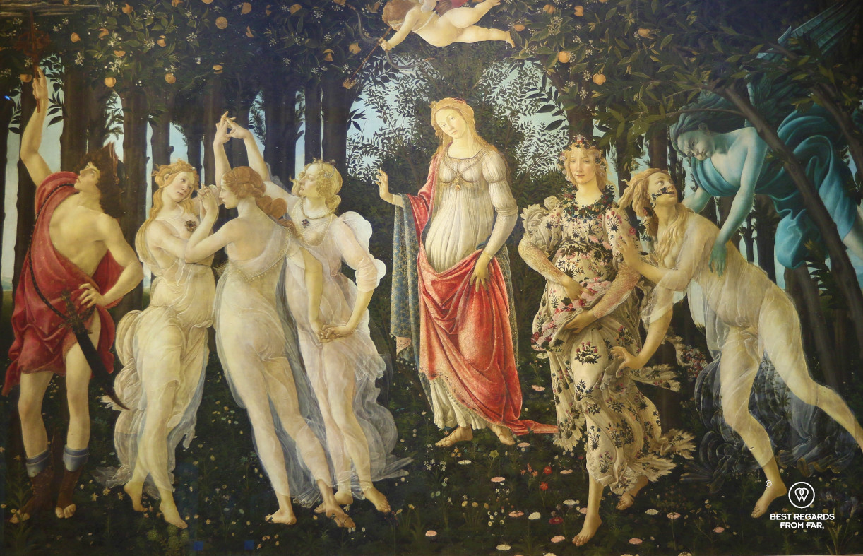Spring by Botticelli in the Uffizi museum in Florence, Italy