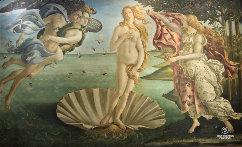 The birth of Venus by Botticelli in the Uffizi museum in Florence, Italy