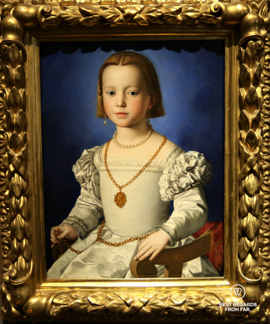 The Portrait of Bia de' Medici by Bronzino in the Uffizi museum in Florence, Italy