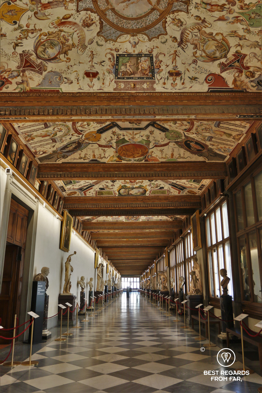 The corridor in the Uffizi museum in Florence, Italy