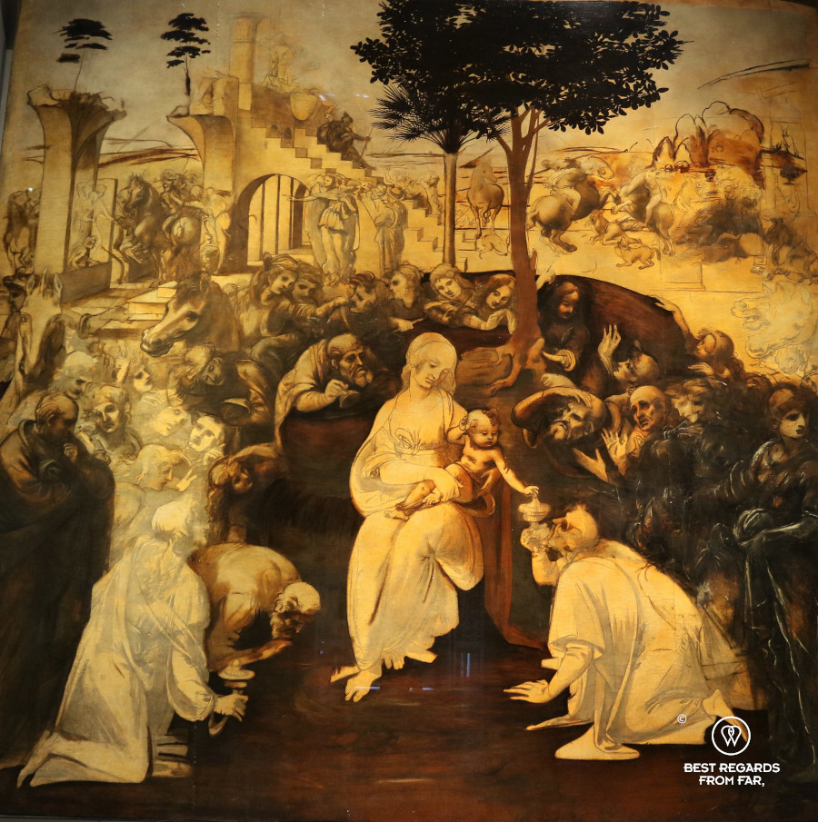 The Adoration of the Magi by Leonardo da Vinci in the Uffizi museum in Florence, Italy
