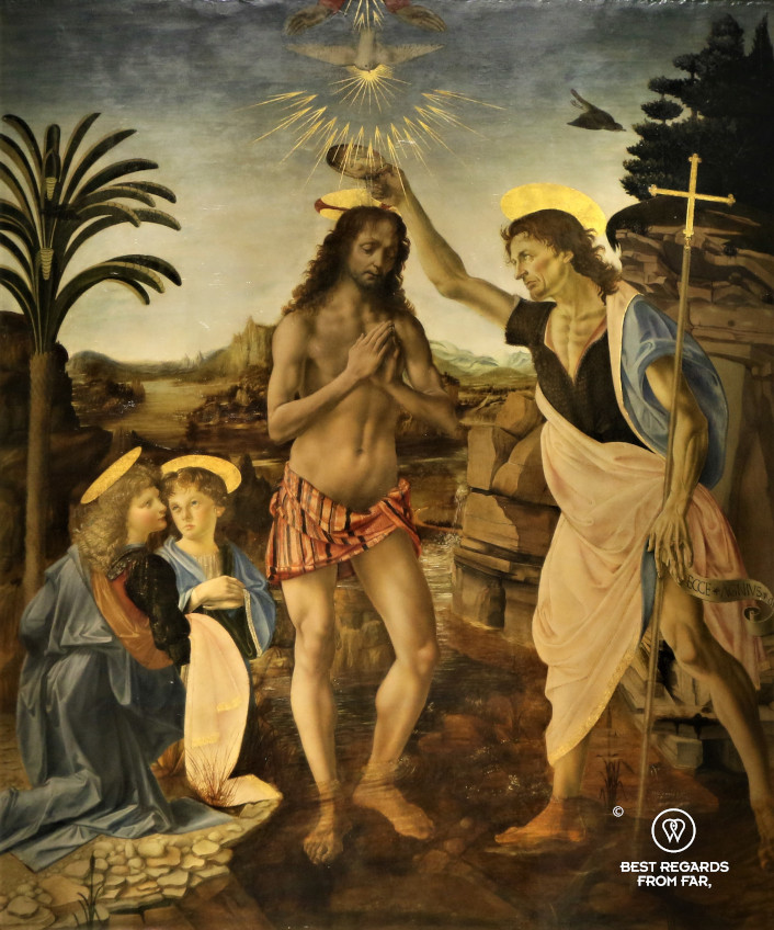 The baptism of Christ by Verrocchio and Leonardo da Vinci in the Uffizi museum in Florence, Italy