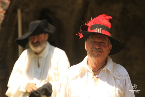 Men in period costumes for the Saint Paolino celebrations in Lucca, Italy.