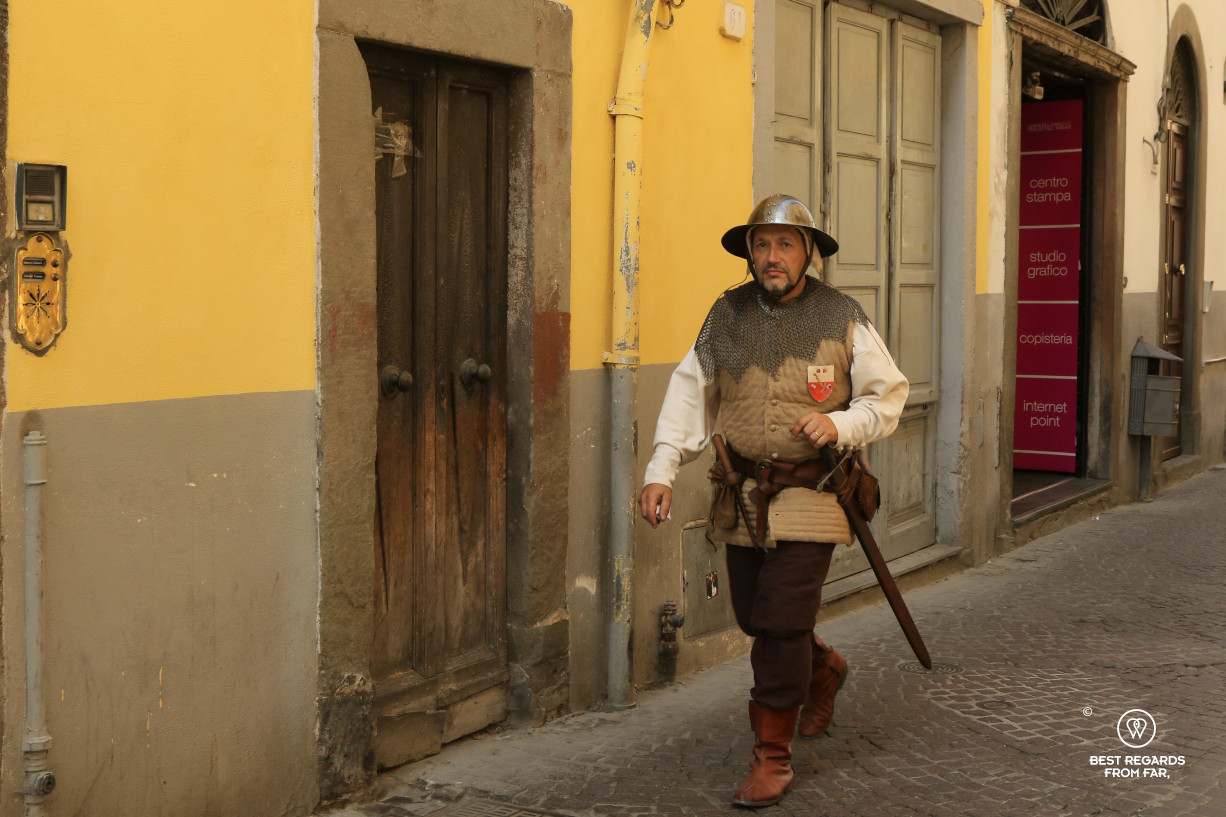 A Lucchese wearing a period costume to celebrate Saint Paolino in Lucca, Italy