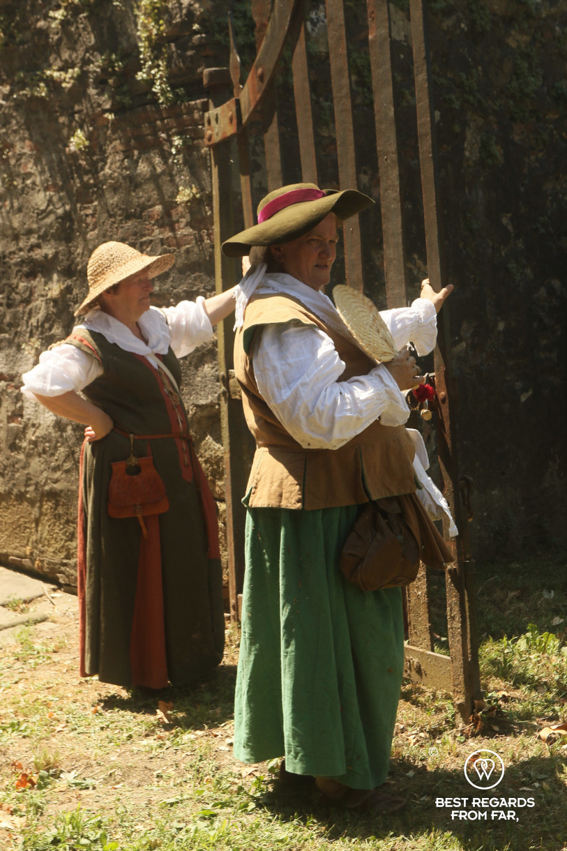 Women in period costumes for the Saint Paolino celebrations in Lucca, Italy.