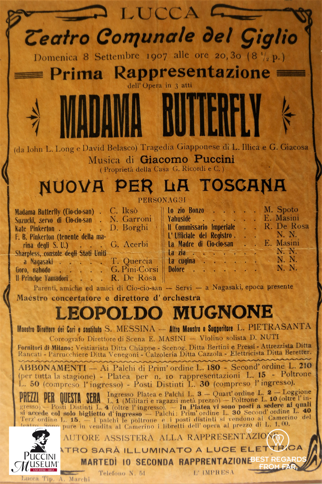 Madam Butterfly playbill, Puccini birth home museum, Lucca, Italy.