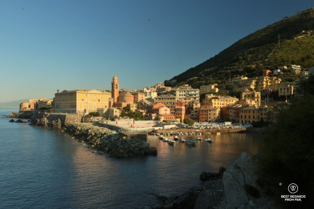 Charming Nervi with its harbour and pastel coloured houses and church, Italian Riviera.