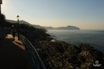 Early morning on the lover's path along Nervi seafront.