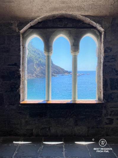 View on the Ligurian Sea from the abbey of San Fruttuoso.