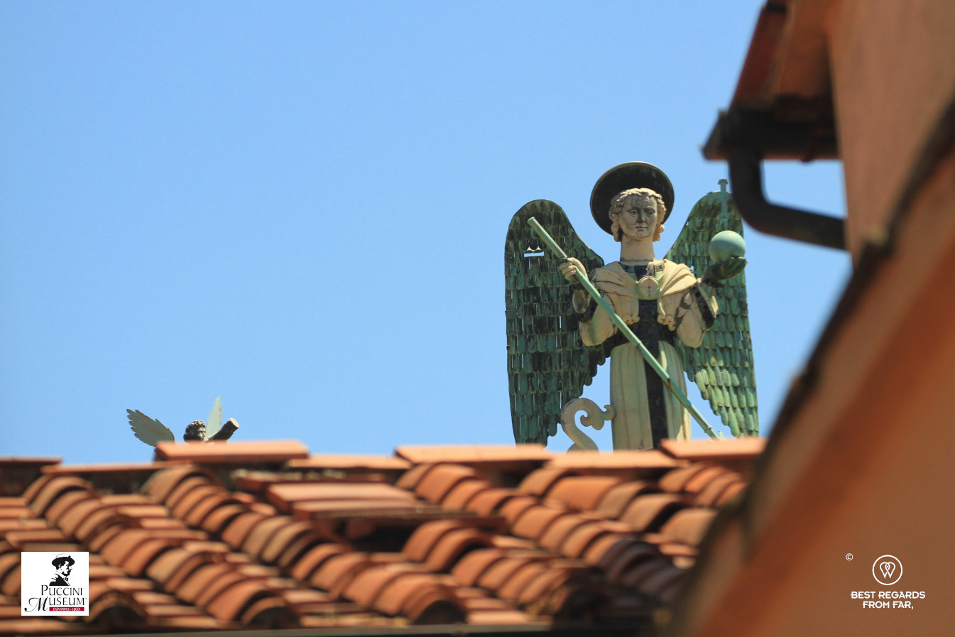 View from the top window of the Puccinis' apartment: the Archangel Saint Michael, Lucca, Italy.