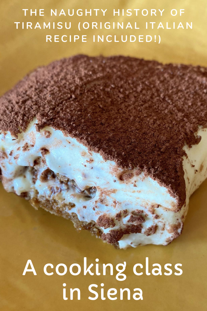 Pin showing a homemade tiramisu