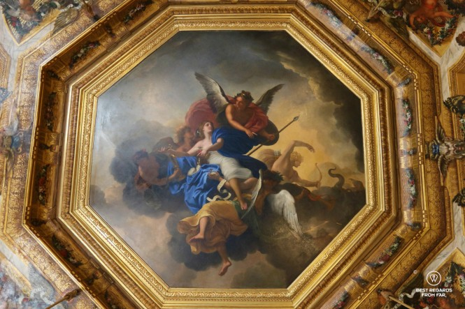 Painted ceiling by Le Brun in the castle of Vaux le Vicomte, France.