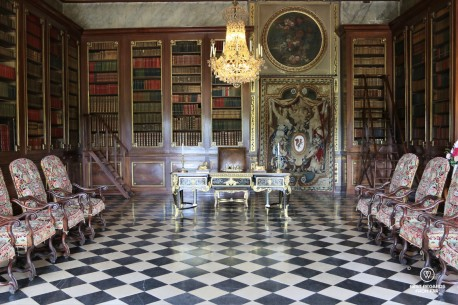 Richly decorated audience room in the castle of Vaux le Vicomte, France