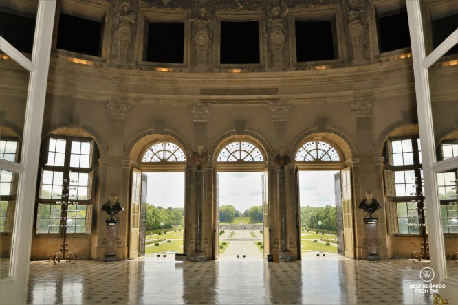View from the castle of Vaux le Vicomte opening on its French gardens.