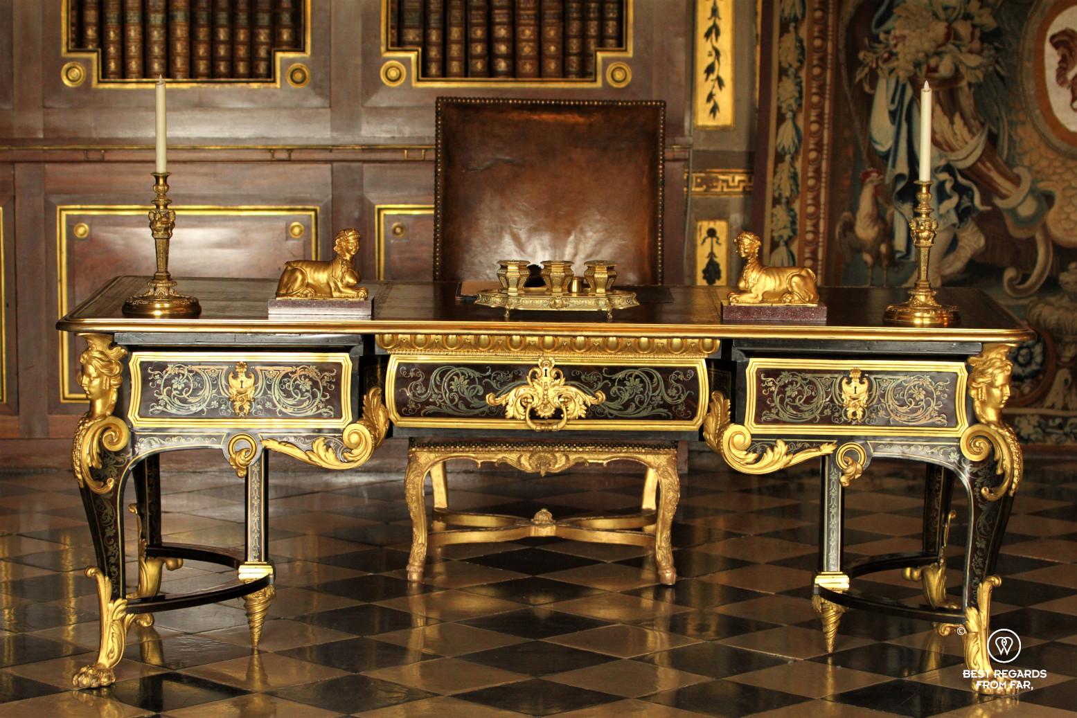 Desk in the castle of Vaux le Vicomte, France