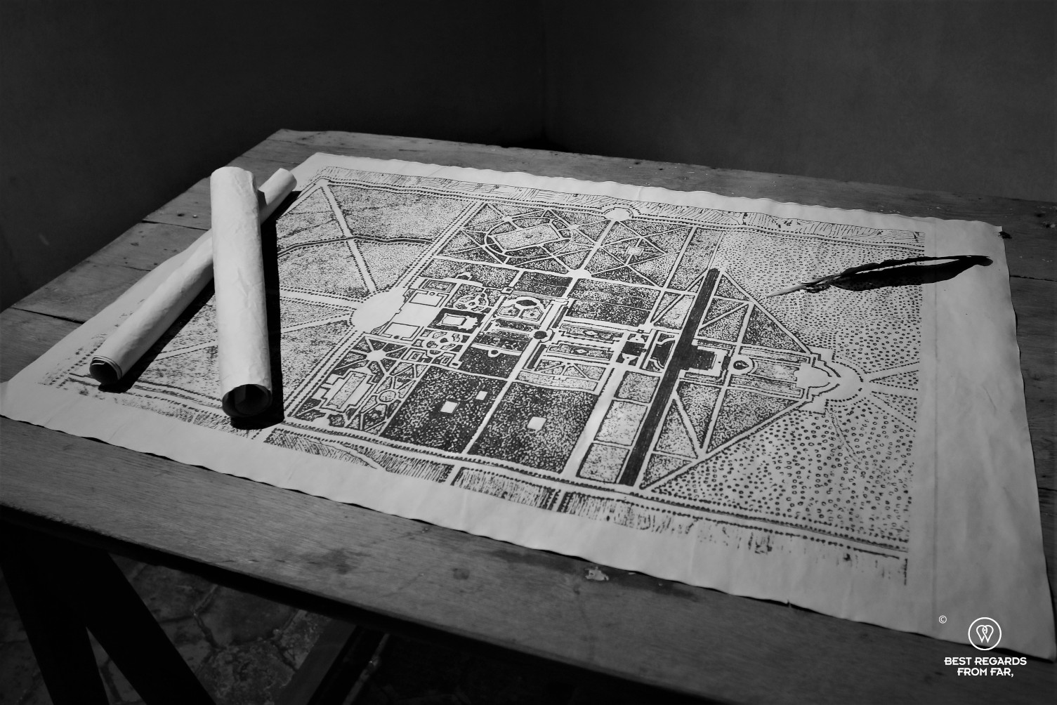 Old map of the grounds on the castle of Vaux le Vicomte, France