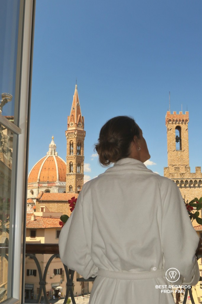 Enjoying the view on Florence from the room of the Bernini Palace, Italy