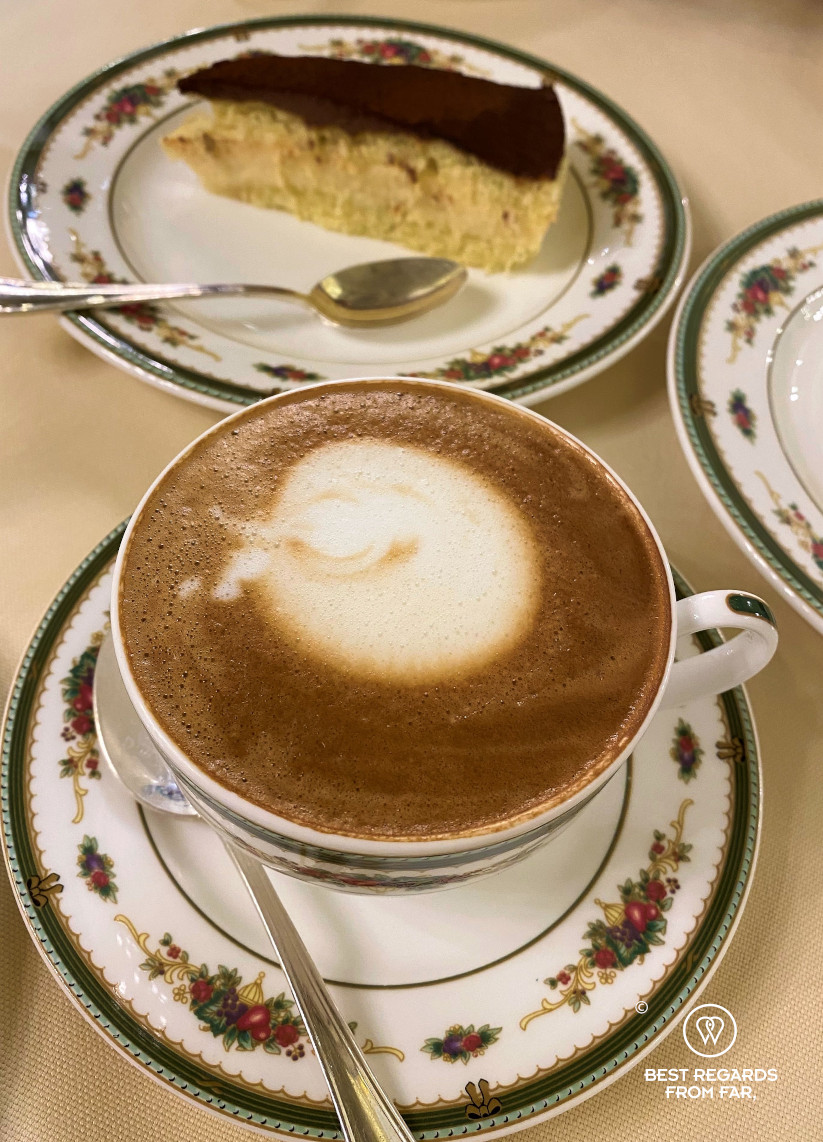 Cappuccino and cake at the Bernini Palace, Florence