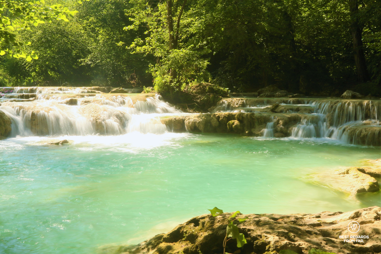 Hiking and swimming the turquoise waters of the Elsa River, Tuscany, Italy